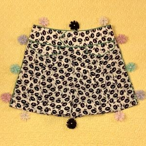 Marc Jacobs Pleated Green Pink Floral Silk Shorts